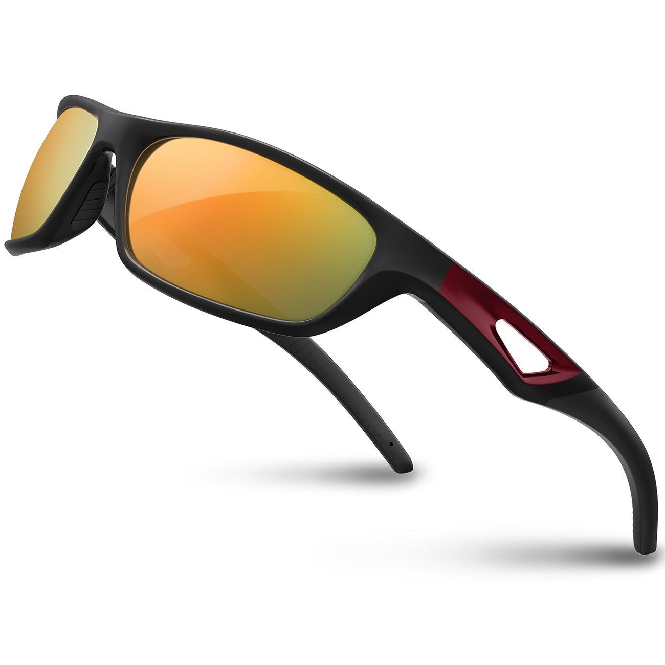 RIVBOS Polarized Sports Sunglasses Driving Sun Glasses Shades for Men Women Tr 90 Unbreakable Frame for Cycling Baseball Run Rb831 (Black&Red Mirror Lens)