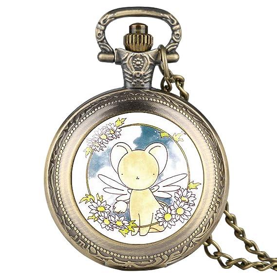 JLySHOP Reloj de Bolsillo de Bronce con Cadena Fina para niña, diseño de Personajes de
