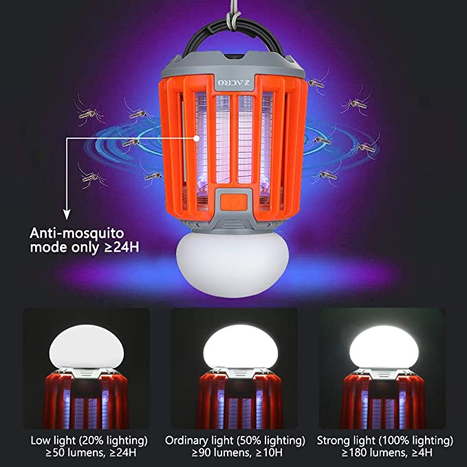 Bug Zapper Camping Lamp with 2000 mAh Rechargeable Battery Portable and IPX6 Waterproof Retractable Hook and Removable Lampshade Zacro Camping Lantern /& Mosquito Killer Tent Lamp 2 in 1