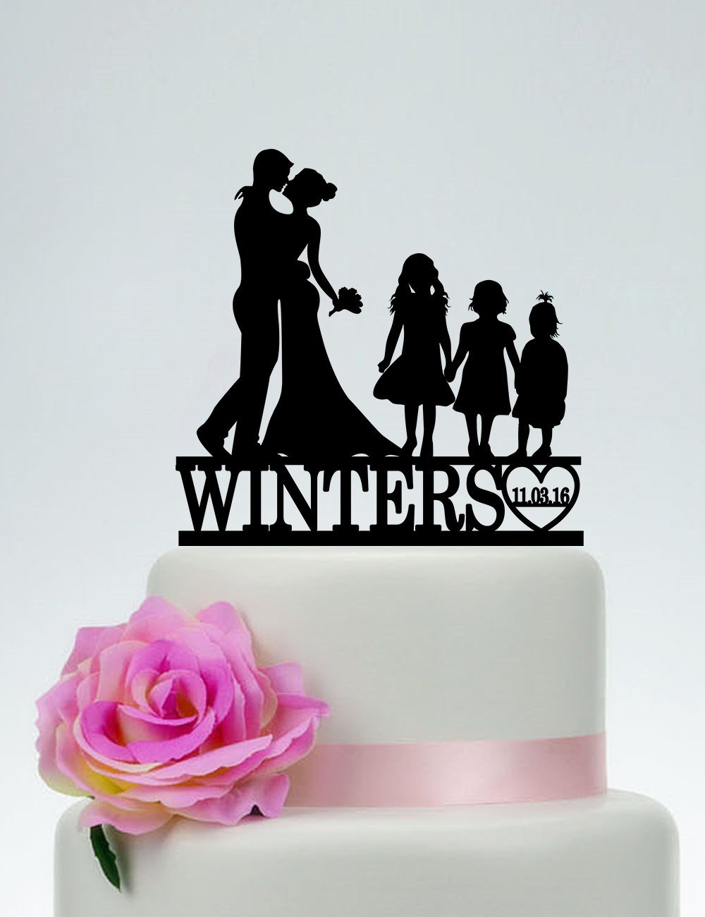 Family Custom Wedding Topper Bride And Groom With Three Little Girls Couple With Child Wedding Cake Toppers Letters Funny Wedding Anniversary Cake Topper Party Event Decorations Wedding Gift