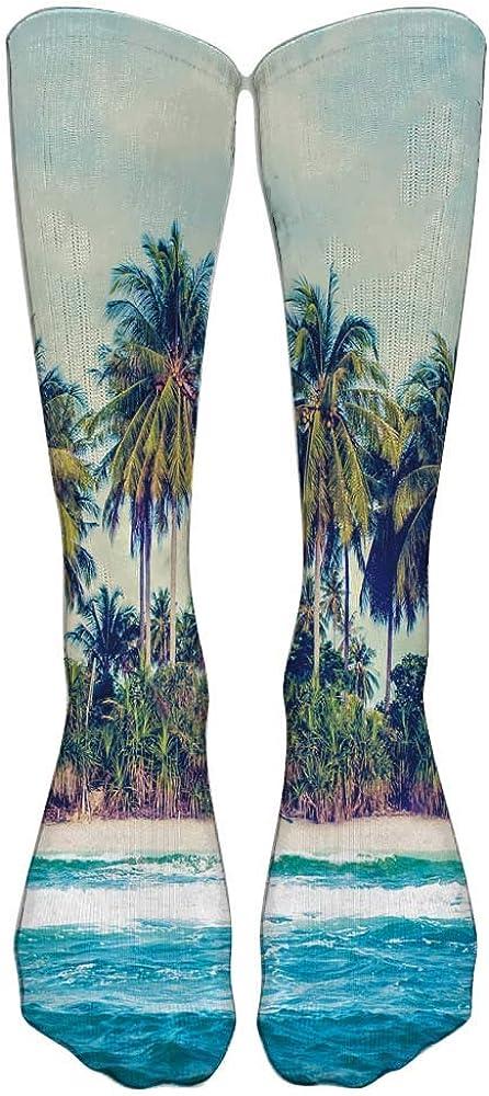 Cartoon Surfer Man Compression Socks For Women 3D Print Knee High Boot
