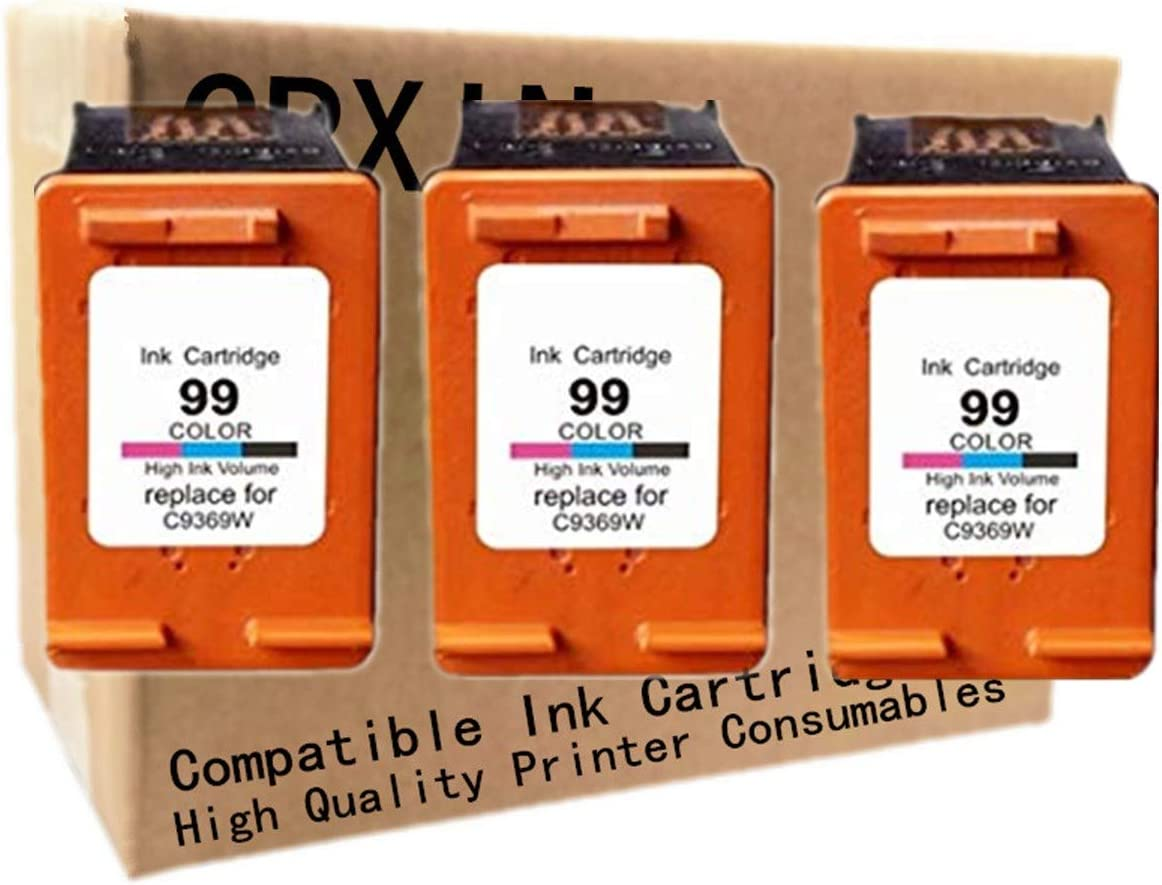 No-name Remanufactured Ink Cartridges Replacement for HP 99 XL 99XL HP99 HP99XL C9369W Photosmart 8450 8150 2710 2610 Officejet 7410 7310 6210 Inkjet Printer (3 Pack)