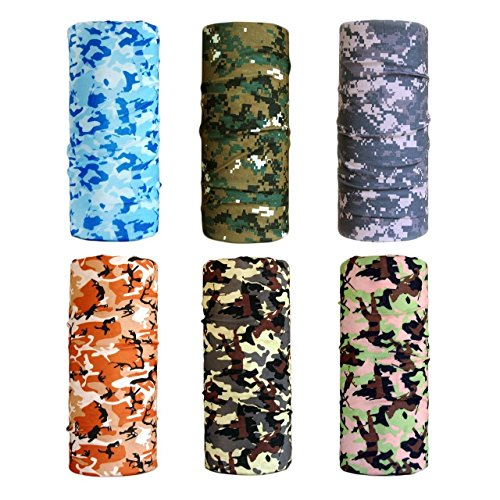 Cool Pack of 6 Pcs Seamless Style Camo Bandanna Headwear Scarf Wrap Neck Gaiters. Perfect for Running & Hiking, Biking & Riding, Skiing & Snowboarding, Hunting, Working Out & Yoga (Snow Head)