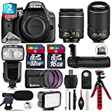 Holiday Saving Bundle for D3300 DSLR Camera + 55-200mm VR II Lens + AF-P 18-55mm + Flash with LCD Display + Battery Grip + Shotgun Microphone + LED Kit + 2yr Warranty - International Version