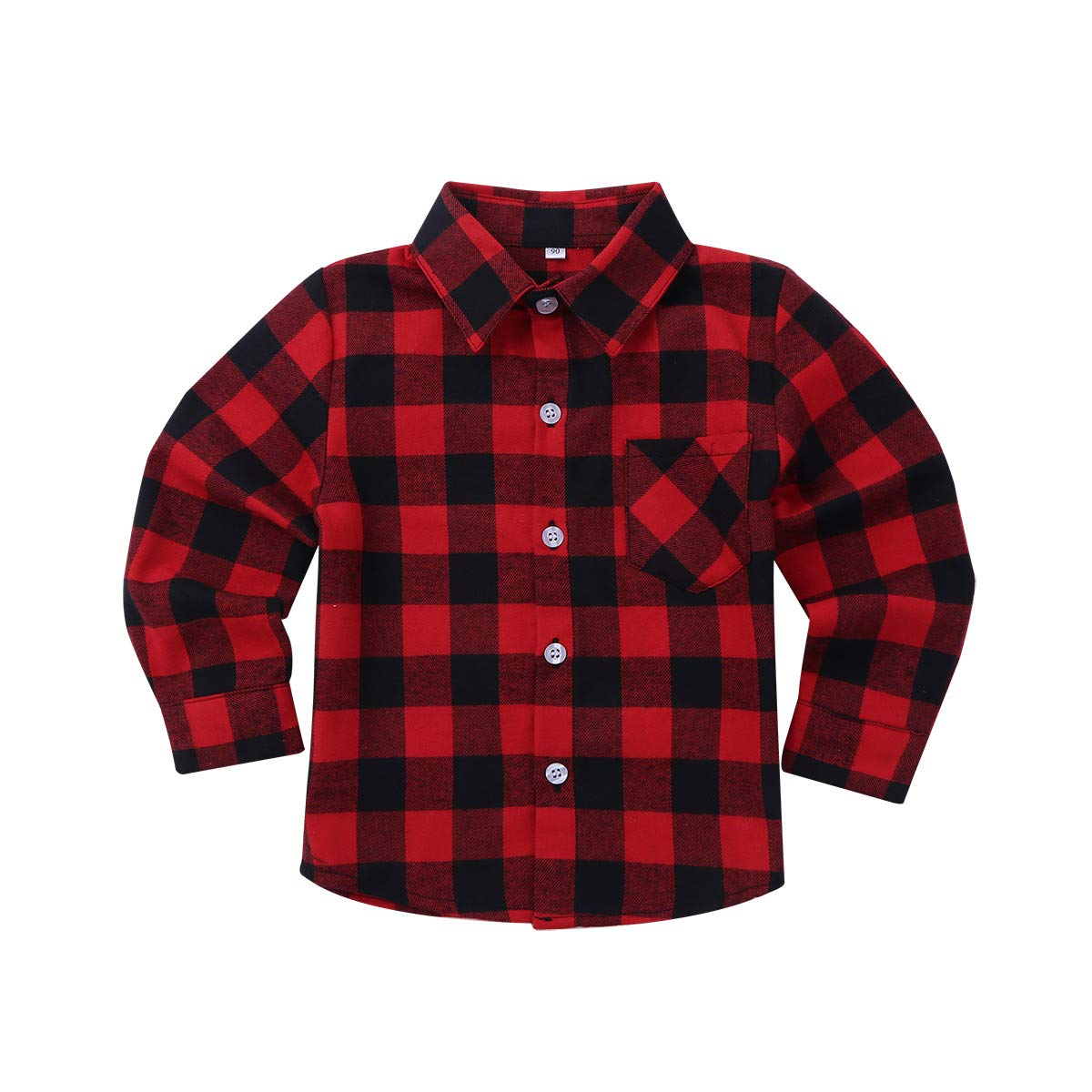 iiniim Children Boys' Girls' Long Sleeve Button Down Plaid Cotton Shirt Infant Baby Shirt Tops Blouse