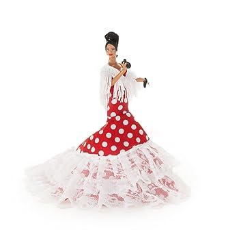 Muñeca 19 cm Andaluza gitana flamenca vestido cola (Blanco lunar Rojo)