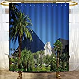 AmaPark Modern shower curtain for bathroom liv room in classic stYL1e house with marble fireplace marble Waterproof NYL1on - Soft as Silk - Mildew Resistant
