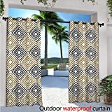 perfect minimalist patio design Modern Exterior/Outside Curtains W84 x L96 Square Shaped Lines with Inner Gold Yellow Bands Minimalist Bohemian Design Print for Patio Light Block Heat Out Water Proof Drape Black White