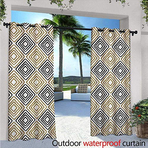 Modern Exterior/Outside Curtains W84 x L96 Square Shaped Lines with Inner Gold Yellow Bands Minimalist Bohemian Design Print for Patio Light Block Heat Out Water Proof Drape Black White