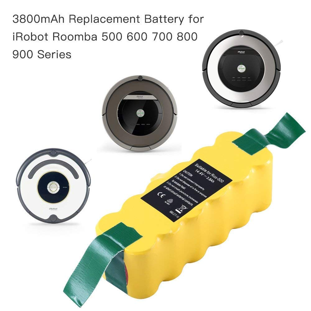 【Upgraded to 3.8Ah】Ni-Mh 14.4V Battery for iRobot Roomba R3 500 600 700 800 Series 530 550 650 770 870 980 Vacuum 1 Pack
