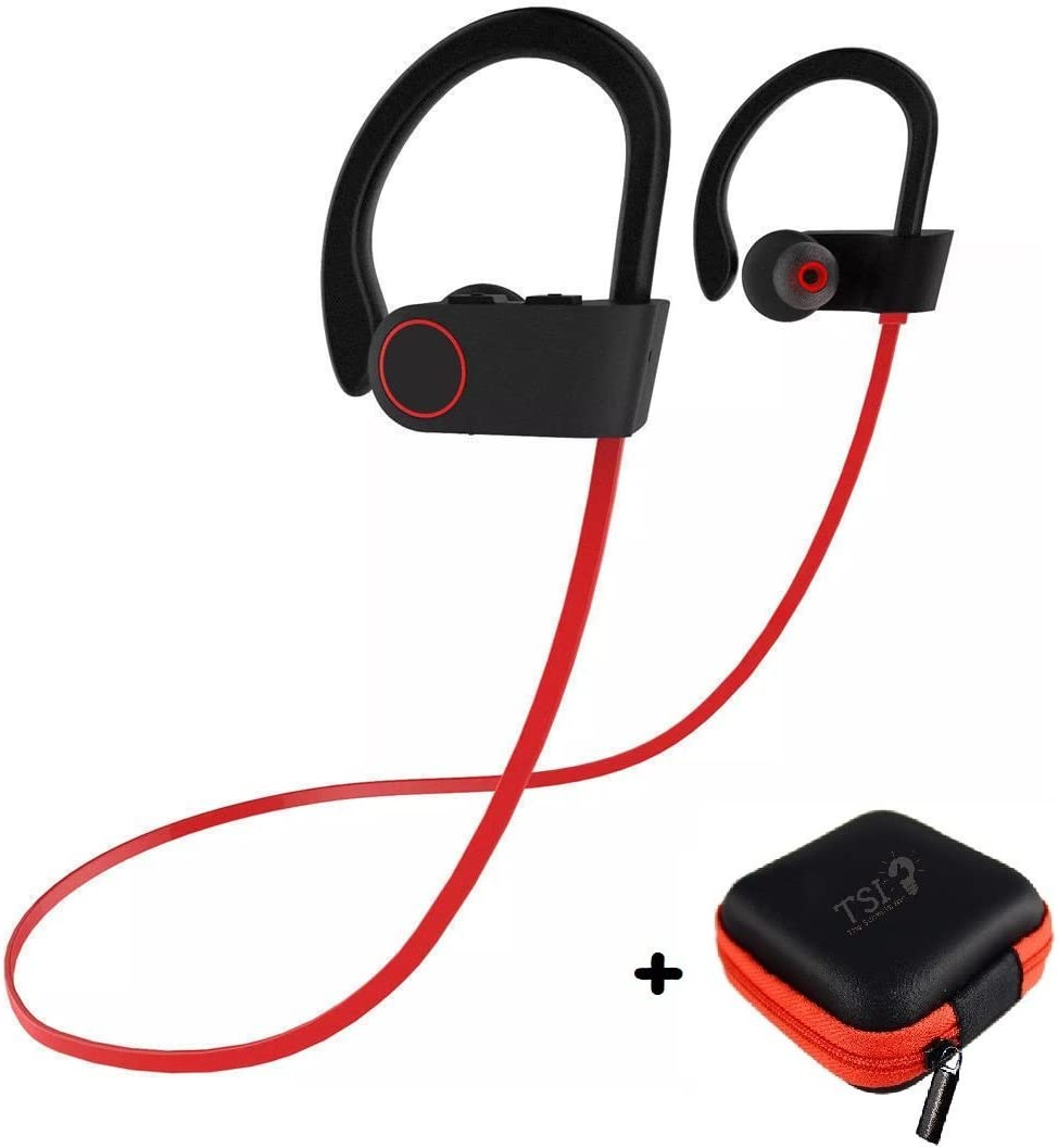 Amazon Com Bluetooth Earbuds Best Wireless Sports Headphones W Earphone Case Mic Stereo Sweatproof V4 1 Edr For Gym Running Workout Iphone X 8 8 7 7 6 6s Plus Samsung Galaxy S8 S8 S9 Black Red Thread
