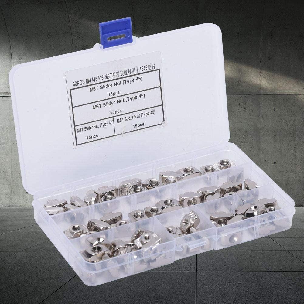 T Slider Nuts for Industry with a Plastic Storage Box Easy to Use Building Industrial 60pcs T Nut Aluminum Durable T Slot Sliding Nut