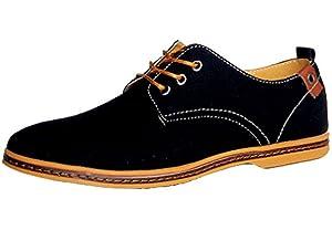 DADAWEN Men's Canvas Oxford Casual Shoe Black US Size 10.5