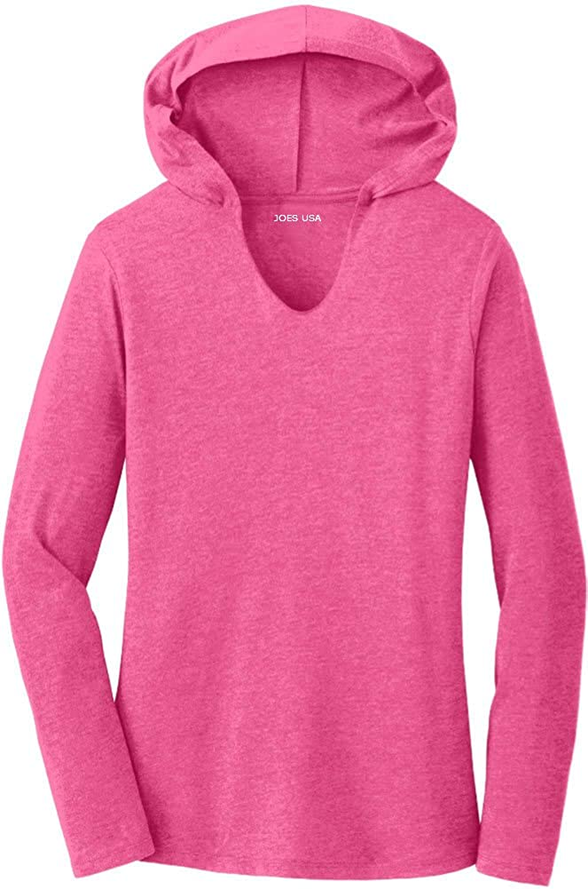 Ladies Perfect Tri Long Sleeve Lightweight Hoodie in Sizes XS-4XL
