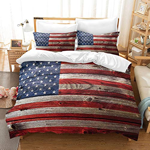 KANAKAL US 3PC Bedding Set A Fourth of July Independence Day Weathered Retro Wood Wall Looking Country Emblem Theme Decor 1 Duvet Cover with 2 Matching Pillow Sham Blue Red King