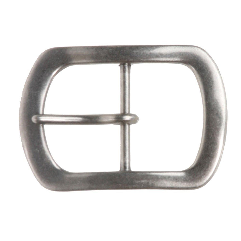 MONIQUE Men Antique Silver Zinc Alloy Single Prong Oval 1.5 Belt Buckle