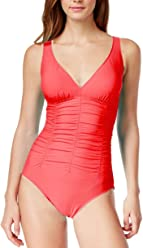 370cd1d1c9a Swim Solutions Women's Shirred Wide Strap Mio One-Piece Swimsuit