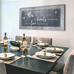 Sense of Art   Bless This Food Quote   Wooden Framed Canvas   Ready to Hang Wall Art for Home Decoration   (Grey, 42x19)…