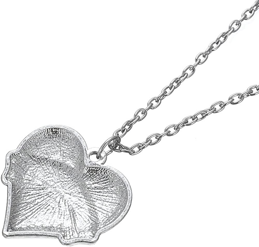 Lemegeton Fashion Link Chain Necklace Heart BLESSED Crystal Pendant for Women Girls Gifts Jewelry