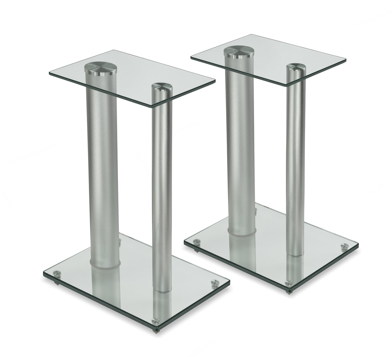 Mount-It! Bookshelf and Floor Speaker Stands for Surround Sound Home Theaters, 18 Inch High, 22 Lbs Capacity, Tempered Glass and Aluminum, Clear and Silver, One Pair by Mount-It!