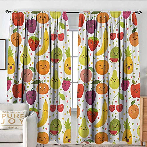 Rod Pocket Blackout Curtain Fruits,Smiling Banana Funny Mulberry Happy Apricot Peach Hearts Lemons Kids Nursery Theme,Multicolor,Decor/Room Darkening Window Curtains 72