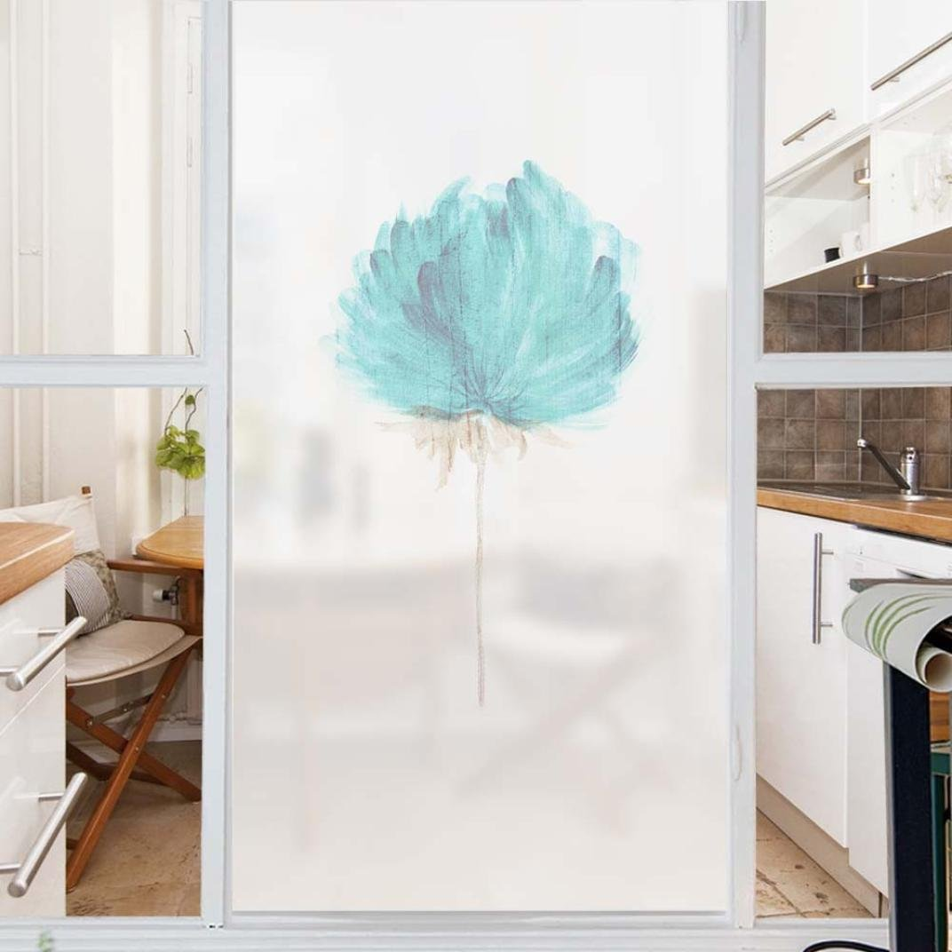 vmree Privacy Window Film, PVC Frosted Glass Sticker Matte No Glue Static Cling Sheets Translucent Decal Home Decor (Flower, 45×58cm/17.7''×22.8'')