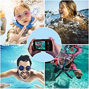 Dual Screen Waterproof HD Digital Camera Underwater Sports Video Recorder Camera, 24MP 1080P Point and Shoot Digital DV Recorder Camera-Red