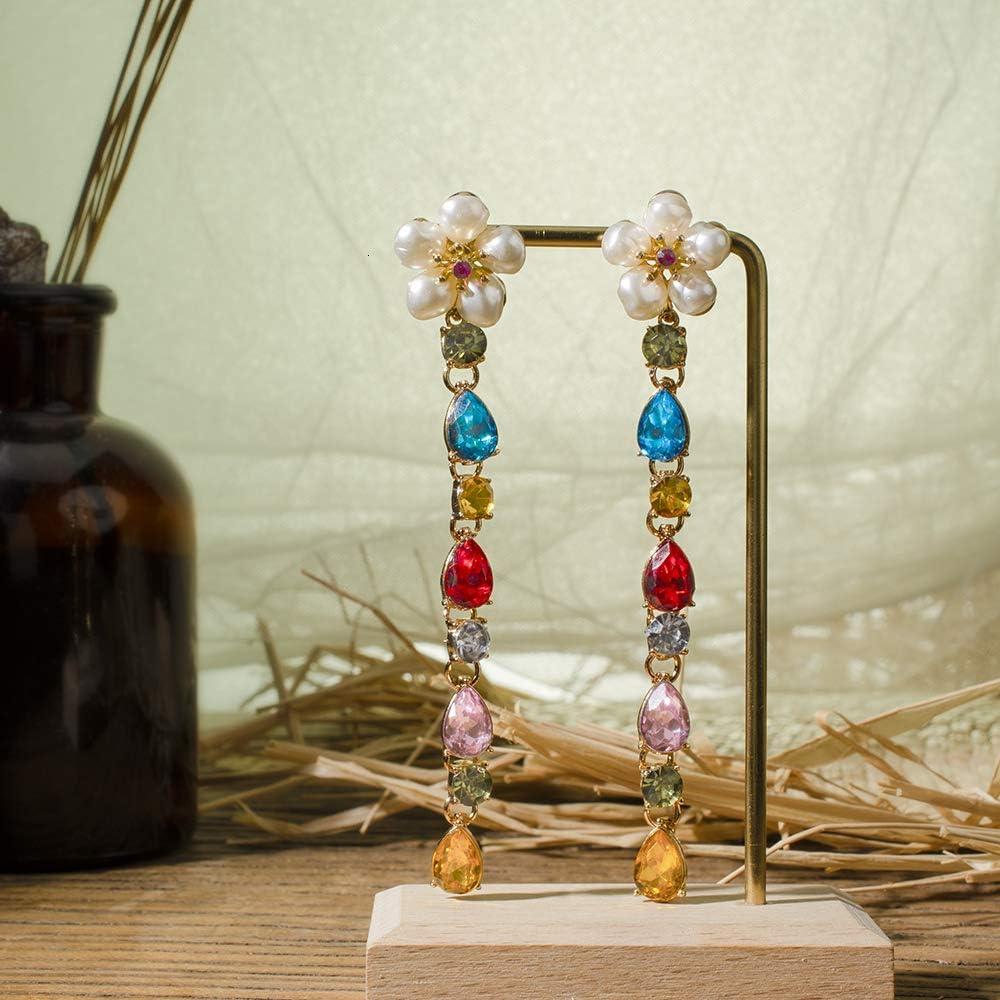ZYJ Pendientes Largos de Cristal de arcoíris de Borla para Mujer Pendientes de Perlas de Flores de Diamantes de imitación Coloridos Lady Fashion Ear Jew