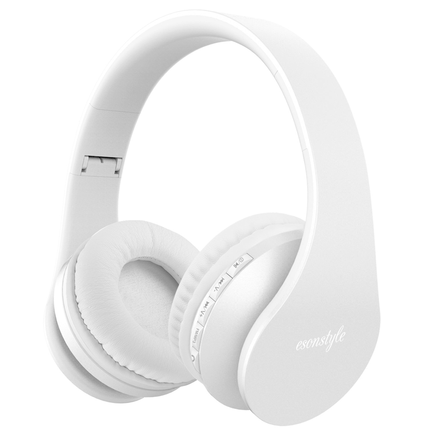 Esonstyle Foldable Wireless Bluetooth Over-ear Stereo Headphone Headset Earphones, Stereo Audio with Hands-free Calling Function and Noise Cancelling Audio Cable Included (white)