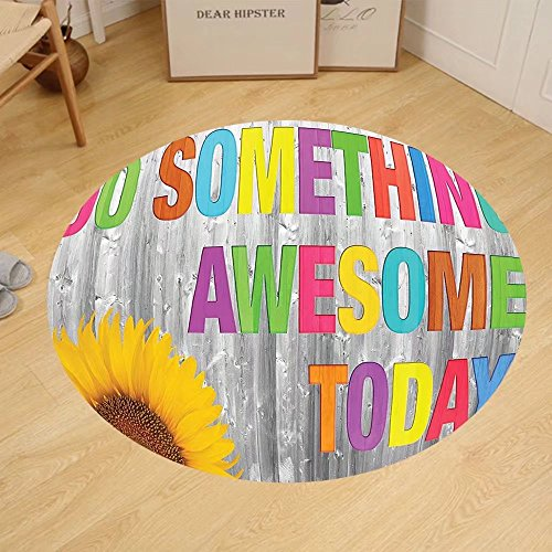 Gzhihine Custom round floor mat Quotes Decor Collection Do Something Awesome Today Sunflower on Wooden Wood Panel Colorful Design Bedroom Living Room Dorm Yellow Pink Green by Gzhihine (Image #5)