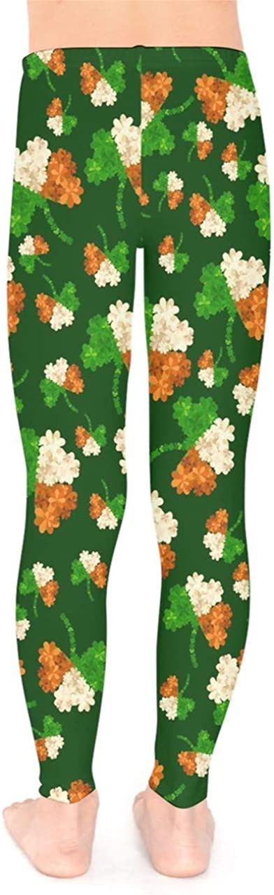 PattyCandy Little//Big Kids Tights Irish Lucky Shamrock Clover Leaves Pattern Unisex Stretchy Leggings