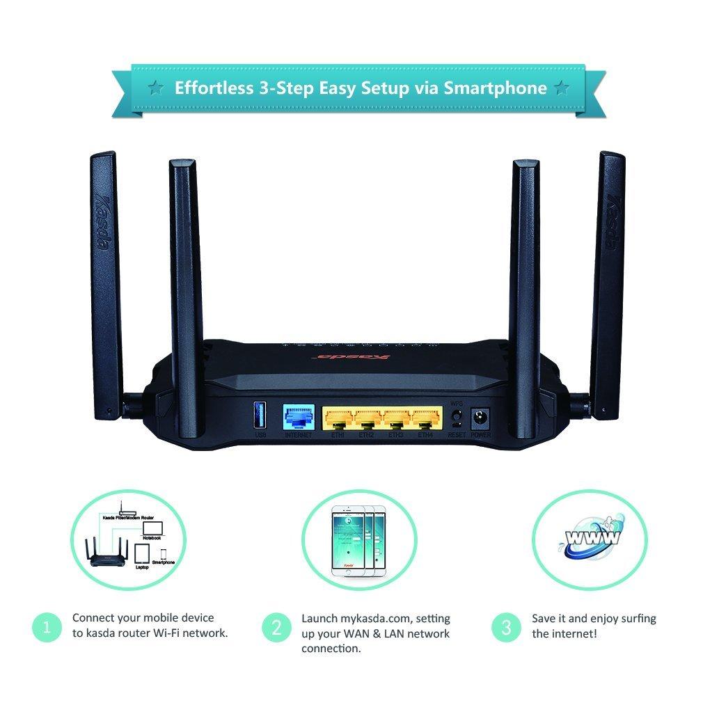 Kasda AC1200 Dual Band Gigabit WiFi Router, Long Range Wireless with High  Gain 5dBi Antennas, Easy Setup via Smartphone (KW6516)