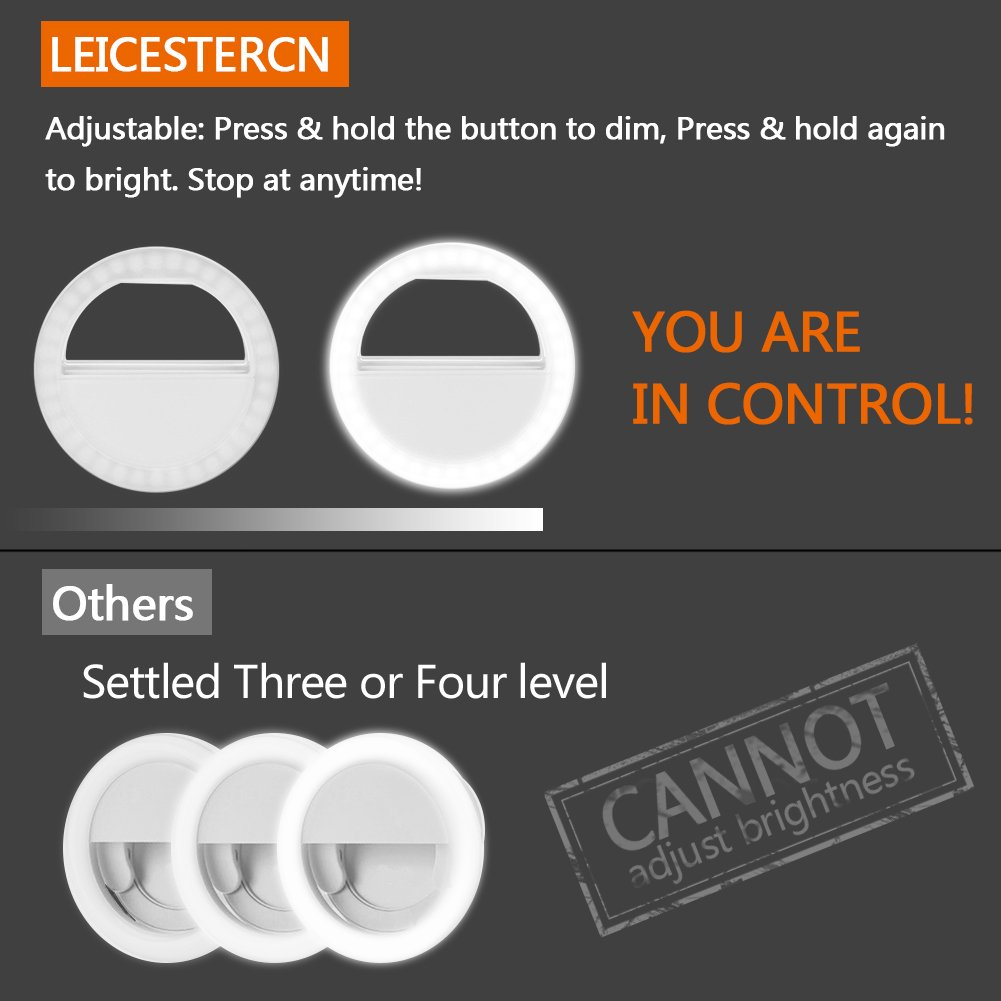 LST Selfie Ring Light for Phone, Rechargeable [38 LED] Cool & Warm Ring Lights Fill-in Lighting Portable for Smartphone, Pad, Laptop (White-Mirror)