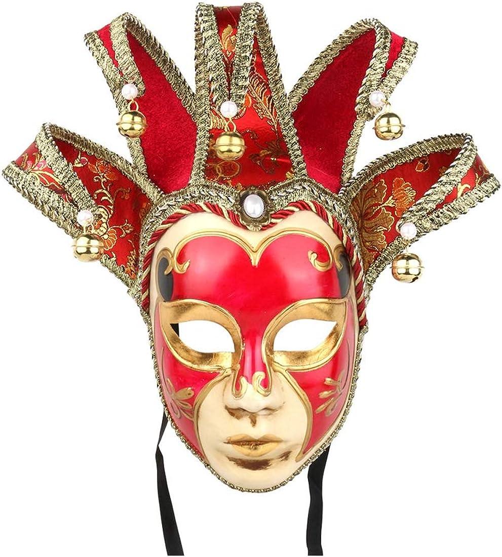 YU FENG Hand Painted Full Face Jester Jolly Joker Venetian Masquerade Wall Mask Carnival Costume Fanshaped Mask Mardi Gras (Red)