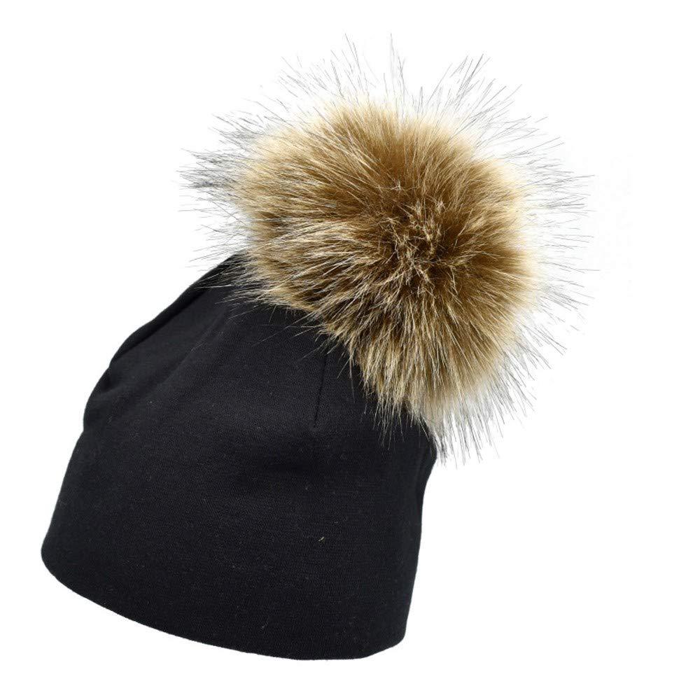 Longay Toddler Newborn Baby Boys Girls Winter Keep Warm Hat Infant Hairball Cap Red