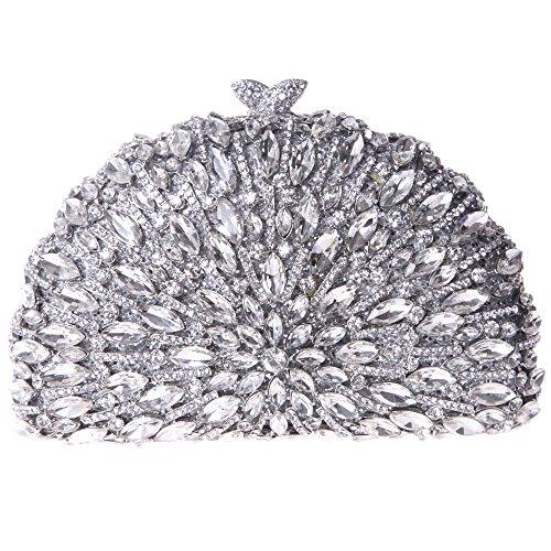 Fawziya Half Moon Shape Kiss Lock Purses Crystal Clutch Evening Bag-Silver - Moon Silver Bag