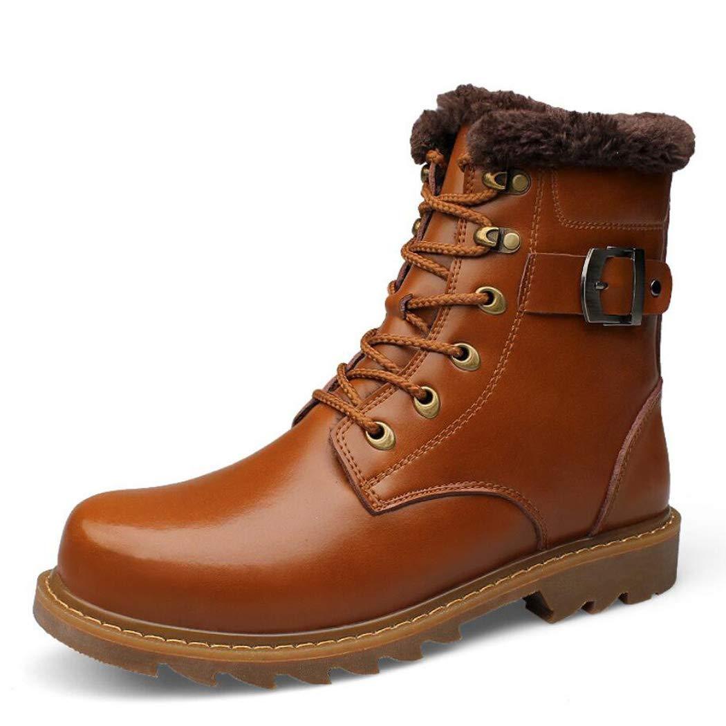 Zxcvb Herren Herbst und Winter Plus Velvet Martin Stiefel Lederstiefel Top Layer Leder High-Top-Baumwolle Schuhe Outdoor Bergsteigen Herrenschuhe Turnschuhe Large Größe 36-47