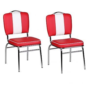King Gepolstert Mit Sitzhöhe Jahre Set Finebuy StühleSitzfläche Doppelpack 50er American 2er Essstuhl Retro 2 Diner Lehne Esszimmerstühle Rücken l15KJuF3Tc