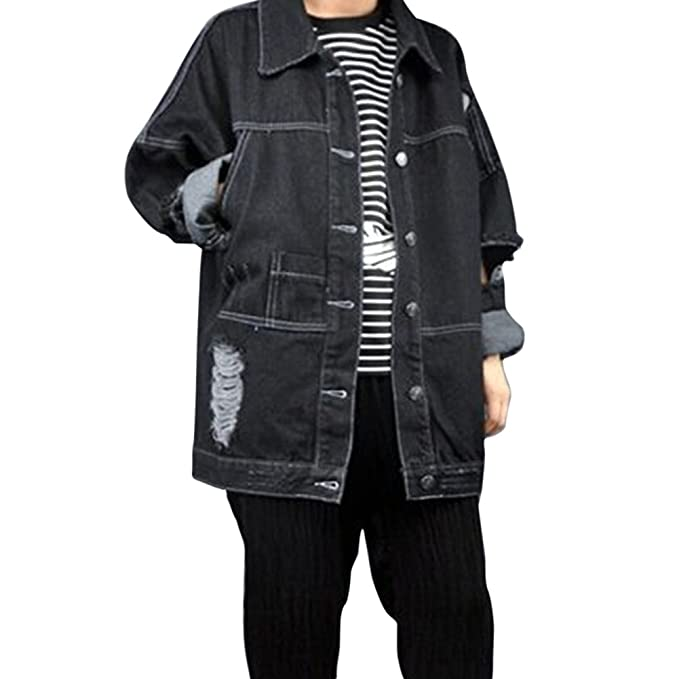 Mujeres Chaquetas Jacket De Mezclilla Loose Fit Casual Manga Larga Abrigo Corto Denim Jacket Cazadora Vaquera Larga Negro Un tamaño: Amazon.es: Ropa y ...