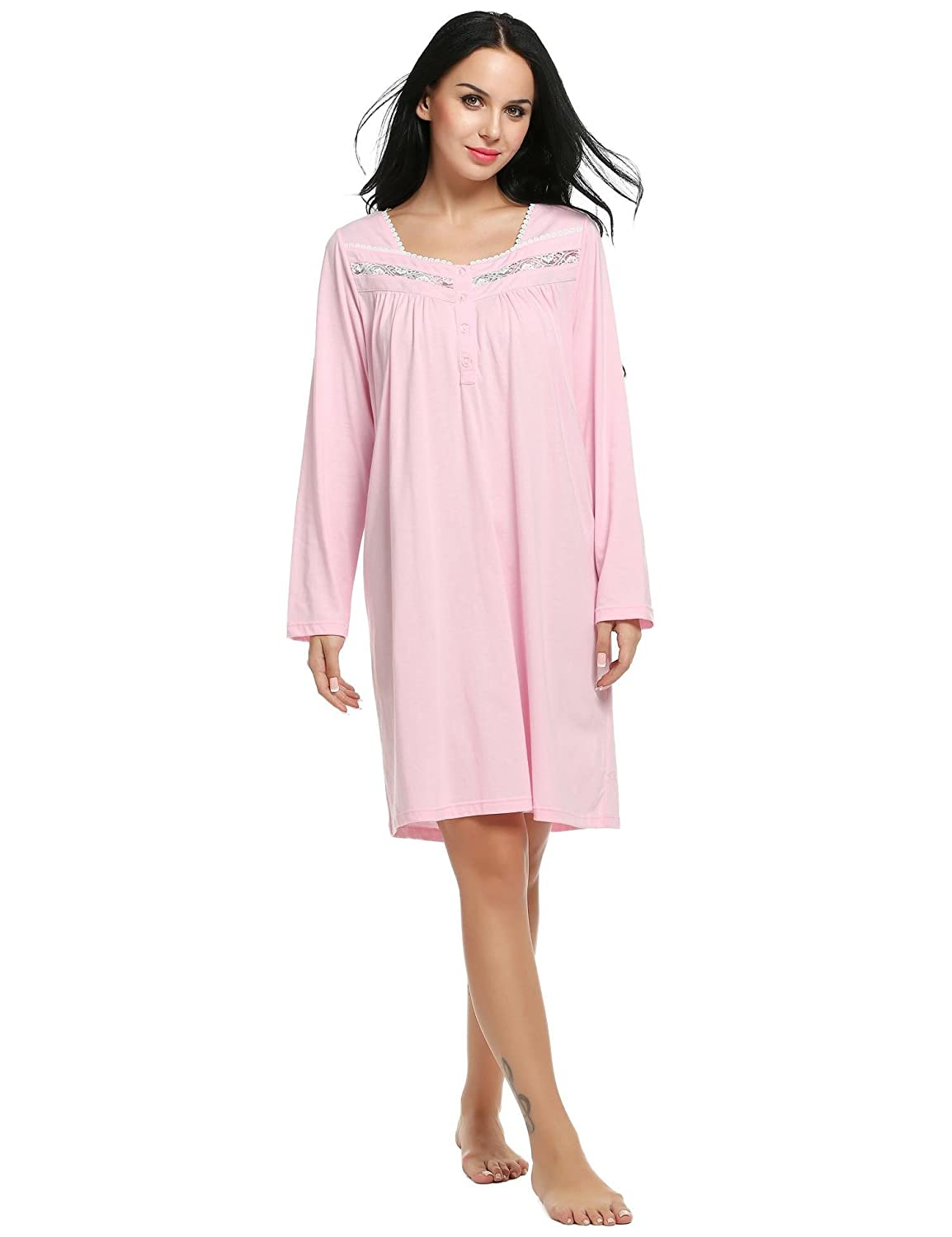 Ekouaer Sleepshirt Womens Long Sleeve Nightgown Cotton Sleepwear S-XXL XL) EKK005167_P_XL#