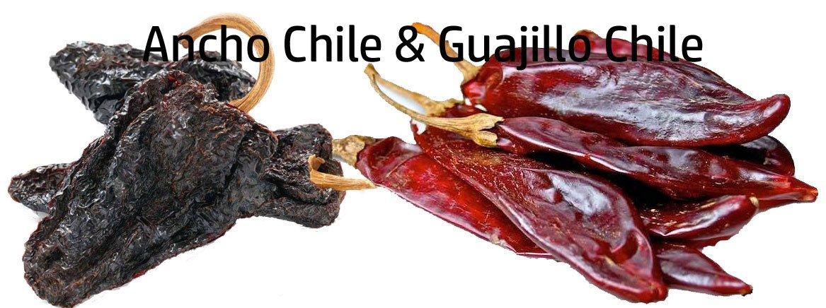 Dried Ancho Chile Pepper & Dried Guajillo Chile Pepper 7 oz. each.