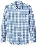 Amazon Essentials Men's Slim-Fit Long-Sleeve Check Shirt, Blue Check, Large