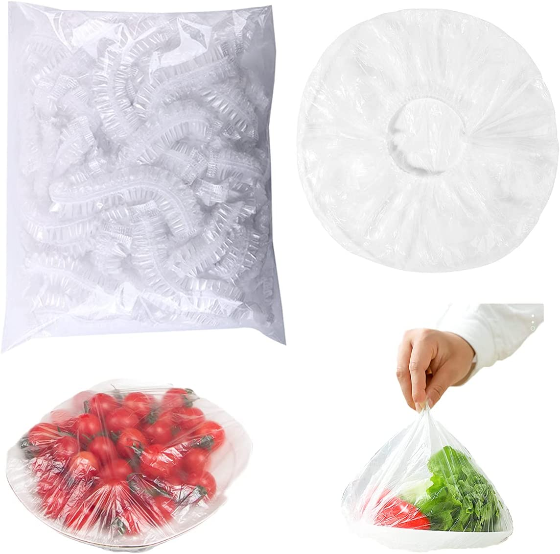 100Pcs Elastic Reusable Bowl Covers, Reusable Plastic Wrap Food Covers Outdoor Food Covers Food Wrap, Stretchable 360 Food Storage Containers Covers Clear Dish Plate Covers for Kitchen Outdoor Picnic