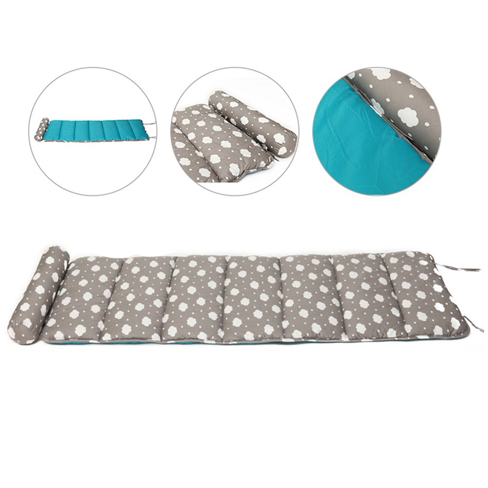 Exttlliy 100% Cotton Foldable Sleeping Nap Mat Floor Lounger with Removable Pillow for Kids Adult (Grey Cloud)