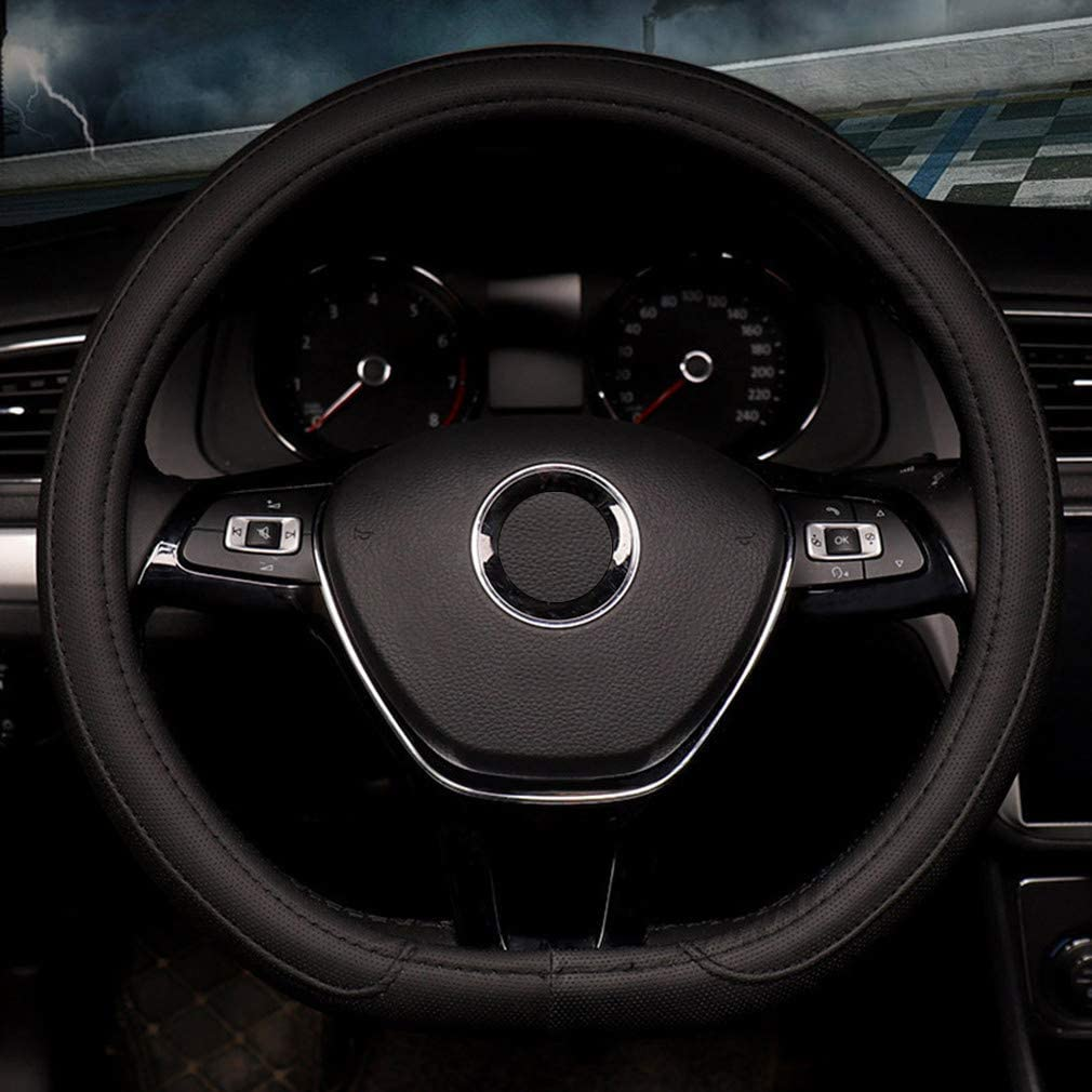 Steering Wheel Cover Flat Black White  Fit Standard and D-Shape Race Performance