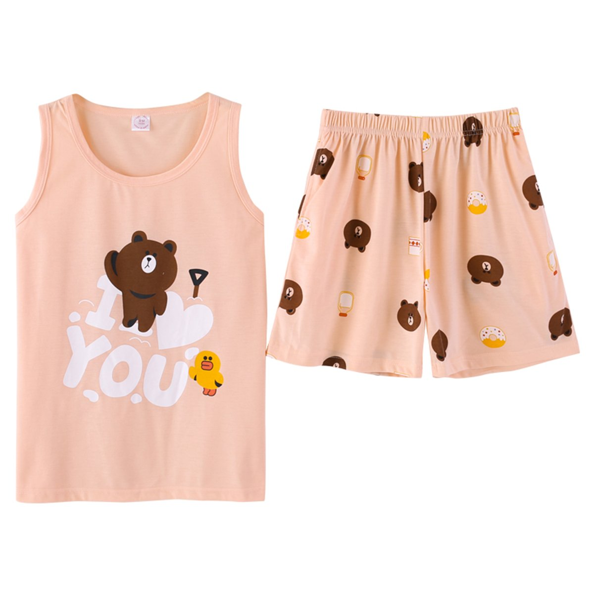 KINYBABY Girls Cotton Sleeveless Sleepwear Cute Bear Pajama Sets Nighty Loungewear