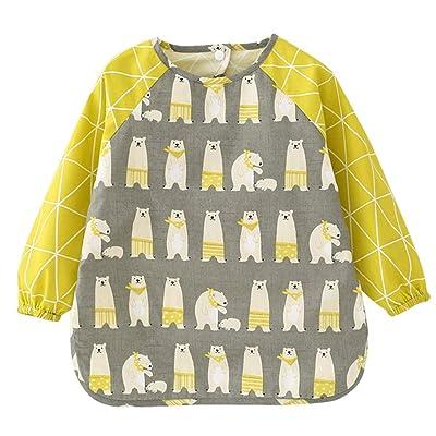 Happy Cherry Toddler Kids Sleeved Bibs Waterproof Smock Apron for Eating Painting: Clothing [5Bkhe1404754]