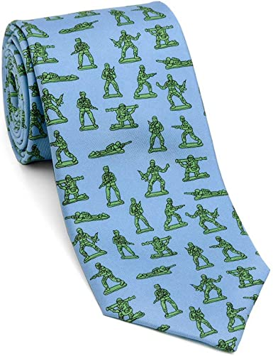 Josh Bach Mens Frisbee and Dog Silk Necktie in Blue Made in USA