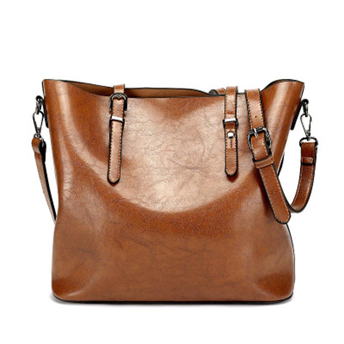 Women's Bags Handbags Shoulder Bags Genuine Leather Brown Big Casual All Seasons Black Coffee Brown Wine (Color : Brown) by WTING (Image #1)