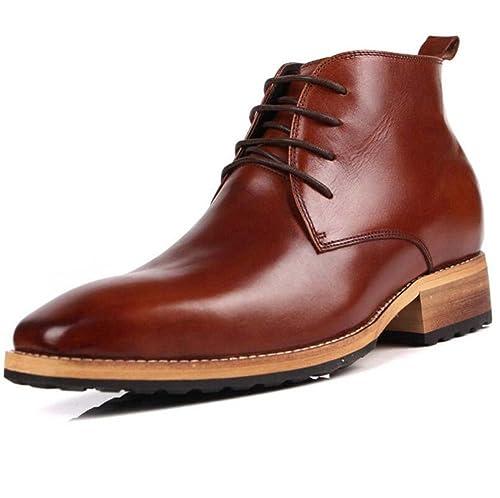 Botines para Hombre Zapatos aumentados Coreanos Británicos Zapatos Invisibles para Aumento de Altura 8 cm (